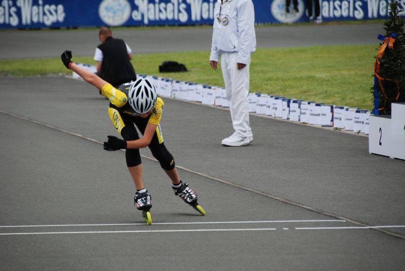 Moritz beim 300m Sprint bei der DM in Bayreuth 2011