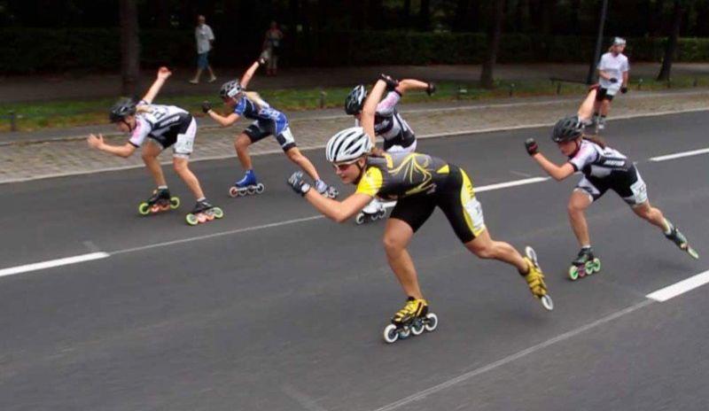 Katja im Zielsprint beim XRace 2011 - Quelle: Skate-TV