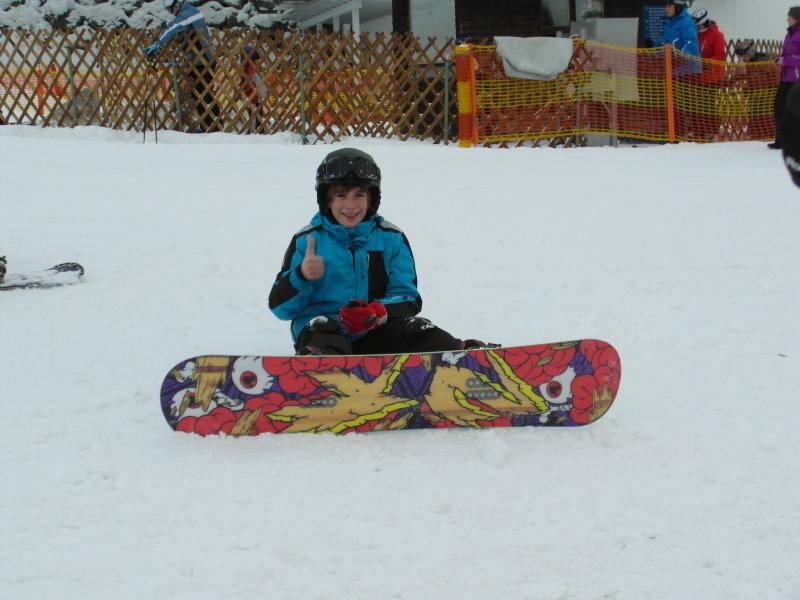 Janne beim Snowboarden