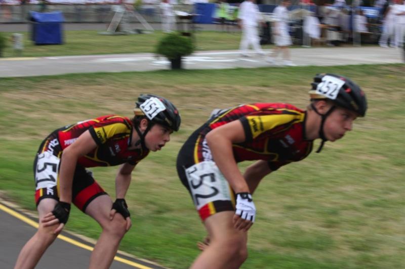 Ricardo Kugler mit Teamkollege Philip Letz beim Punkterennen